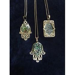 Handmade Unique Hamsa Roman Glass necklace