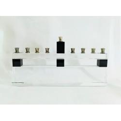 An Elegant Modern Glass Hanukiah (Menorah)