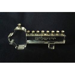 Key shape Glass Hanukiah (Menorah)
