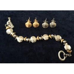 Modern Pomegranate design Bracelet and Matching Earrings