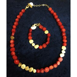 Original polished coral stones Combined with Gold plated pieces set