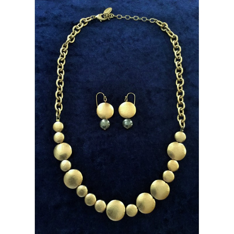 Gold plated Modern design Necklace with Matching Earrings - Silver ...