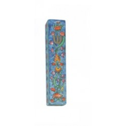 Wooden Mezuzah Flowers design