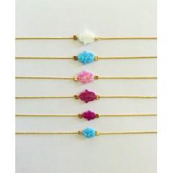 Delicate Opal Hamsa Bracelet