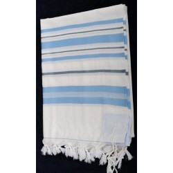 Tallit with Light Blue stripes