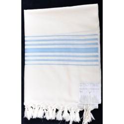 """Special weaving Tallit- """"Tiferet"""" design (Light Blue)"""