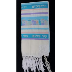 Jerusalem design Tallit (Light Blue)
