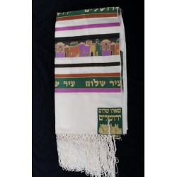 Jerusalem design Tallit (Green)