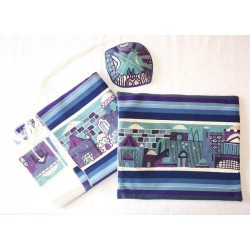 Jerusalem hand embroided tallit set with matching bag and kipa