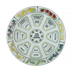 Glass Rosh Hashana plate 7-Species design