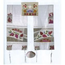 Raw Silk Pomegranate design Talit