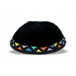 Velvet Kippah Colorful Triangles design
