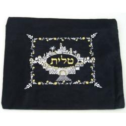 Velvet Jerusalem talit & tefilin bag