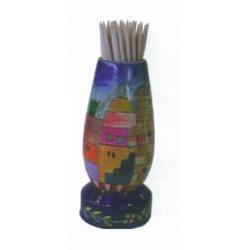 Wooden Toothpick stand  Jerusalem design