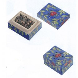 Wooden spice box with cloves Pomegranate design