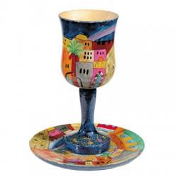 Kidush cup with plate- Jerusalem design