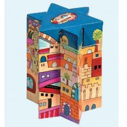 Wooden Tzedaka box- Star of David shape Jerusalem