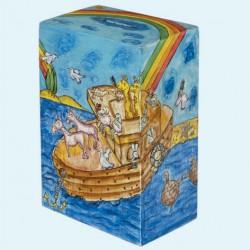 Wooden Tzedaka box - Noah's ark design