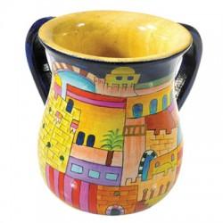 Wooden Washing Cup - Jerusalem design