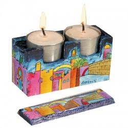 Wooden Travel Candlesticks- Jerusalem design
