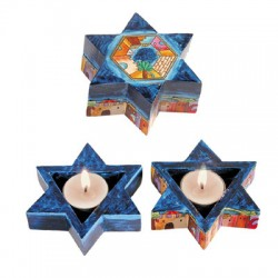 Wooden Travel Candlesticks- Star of David shape