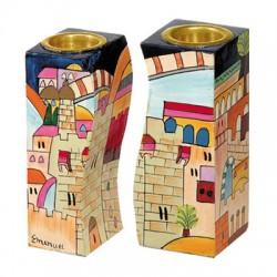Wooden Fitted Candlesticks- Jerusalem design