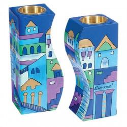 Wooden Fitted Candlesticks- Blue Jerusalem design