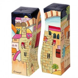 Wooden Fitted Salt & Pepper Shakers- Jerusalem