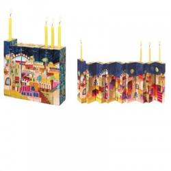 Wooden painted Accordion Hanukkah Menorah