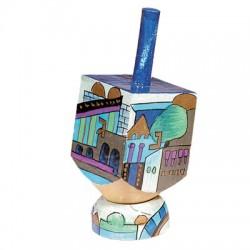Wooden painted Dreidel- Blue Jerusalem