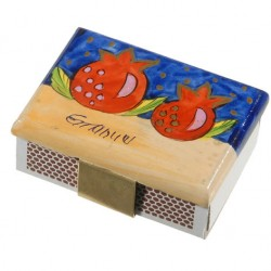 Wooden Matches Holder– Pomegranate design