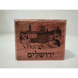 Olive Wood Matches Holder – Jerusalem design