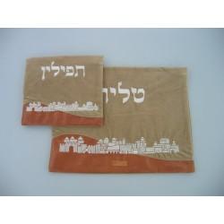 leather Talit & Tefilin bag- Jerusalem design