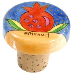 Wooden Bottle Cork Pomegranate design