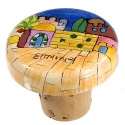 Wooden Bottle Cork- Jerusalem design