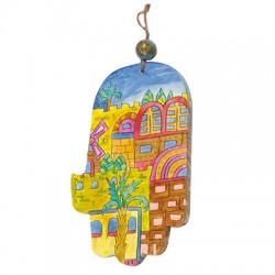 """Wood Painted Hamsa- """"Oriental Jerusalem"""" Design"""