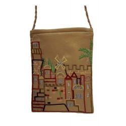 Passport Bag- Gold Jerusalem Design