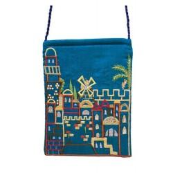 Passport Bag- Blue Jerusalem Design
