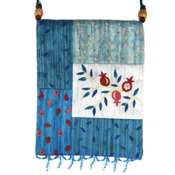 Embroidered Fashion Bag- Blue Pomegranate Design