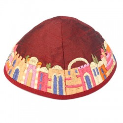 Embroidered Kippah- Jerusalem design (Maroon)