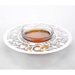 White Metal Honey dish- Pomegranate design