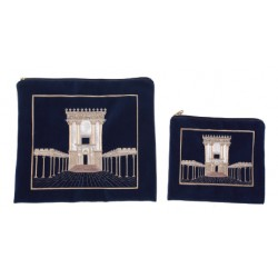 Talit & Tefilin bag- The Jerusalem Temple design (Blue)